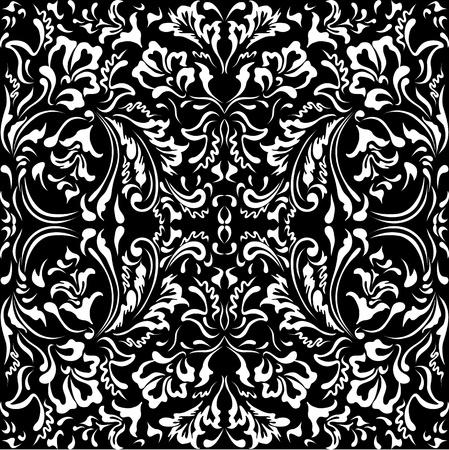 oriental season: White floral pattern on a black background Illustration
