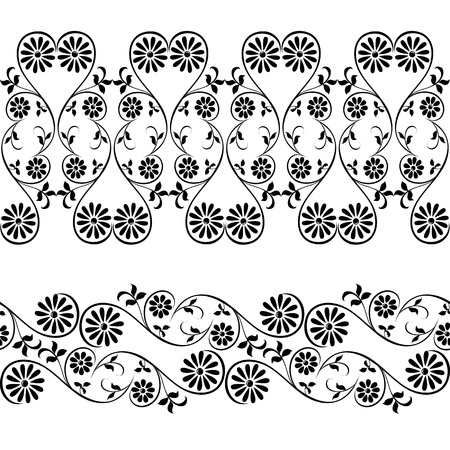 webbing: Webbing, lace, border seamless pattern with swirling decorative floral elements
