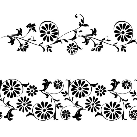 Vector seamless elements for design flowers and ornaments floral