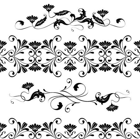 виньетка: Векторный набор закрученной декоративных цветочных элементов орнамента
