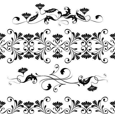 Vector set swirling decorative floral elements ornament Vector