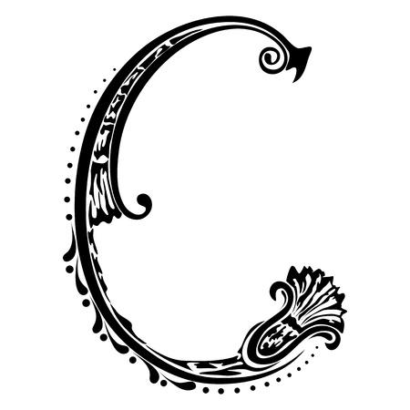 La letra inicial C sobre un fondo blanco