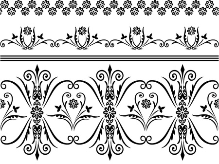 Webbing, lace, border seamless pattern with swirling decorative floral elements. Edge flower and plants ornament  of the fabric, material on a white background