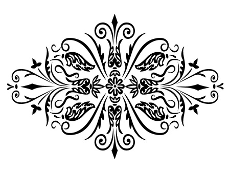 Rhombus flower ornament and swirling decorative floral and plants elements on a white background Vector