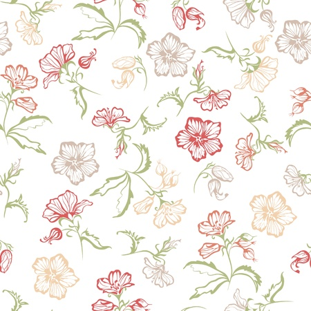 Seamless floral with flowers on a white background