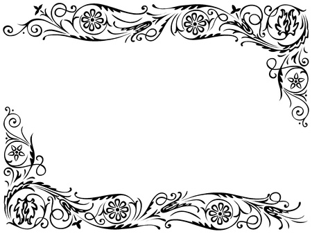 Decorating for the page with black swirling decorative floral elements ornament Illustration
