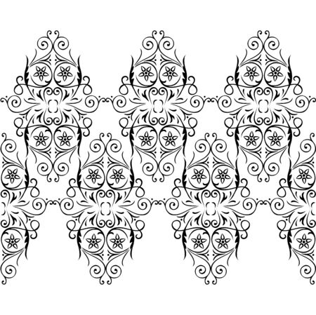 webbing: Webbing, lace, border seamless pattern with swirling decorative floral elements. Edge of the fabric, material. Black, white
