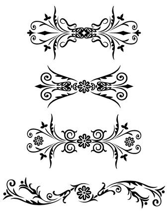Elementos Del Vector Conjunto De Flores De Diseno Y Adornos Florales
