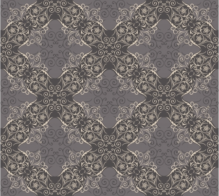 Seamless elegant lace pattern with swirling decorative floral elements . Gray background for design of gift packs, patterns fabric, wallpaper, web sites, etc.