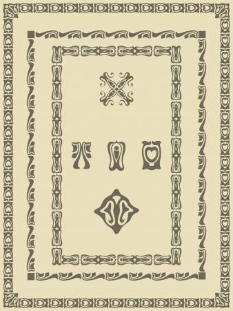 Set vintage frame, ornament and element for decoration and design Vector
