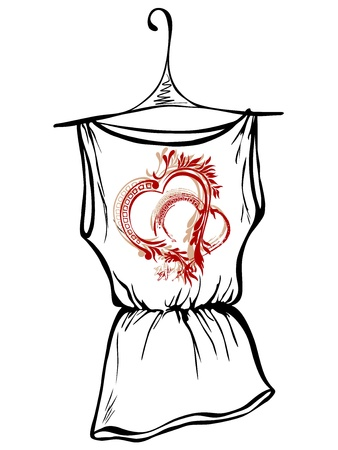 sleeved: Sketch design t-shirts. Hearts with floral ornaments Illustration