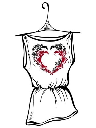 shirts on hangers: Sketch design t-shirts. Hearts with floral ornaments Illustration