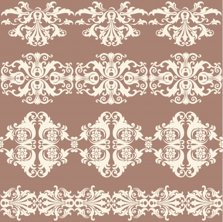 webbing: Vintage webbing, lace, border, banner seamless pattern with swirling decorative floral elements. Edge of the fabric, material on a brown background Illustration