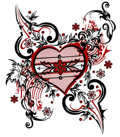 Abstract drawing heart  Valentine background   Vector