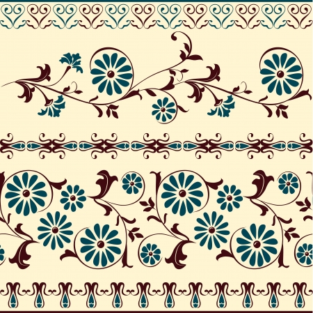 border tile: Webbing, lace, border, banner seamless pattern with swirling decorative floral elements. Edge of the fabric, material  Illustration