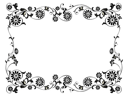 Design frame with with black swirling decorative floral elements ornament Illustration