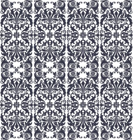 Ornate vintage seamless pattern on a white background with flowers and ornaments floral Vector