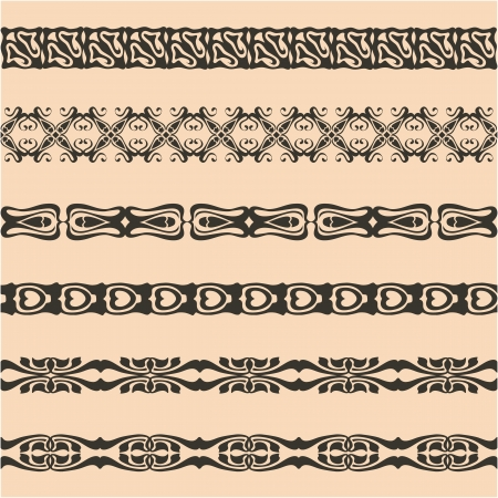 webbing: Webbing, lace, border, banner seamless pattern with swirling decorative elements.