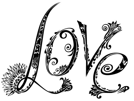 cursive: The inscription love in the style of abstract floral pattern on a white paper background. Illustration