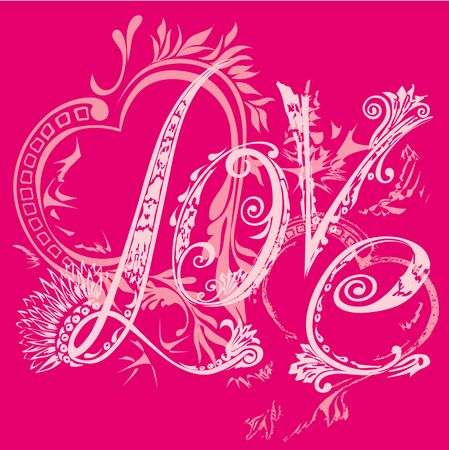Valentine s Day card. The inscription love in the style of abstract floral pattern on a pink background. T-shirt design Vector
