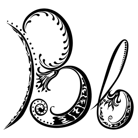 cursive: Letter B b in the style of abstract floral pattern on a white background