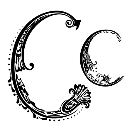 Letter C c  in the style of abstract floral pattern on a white background Illustration