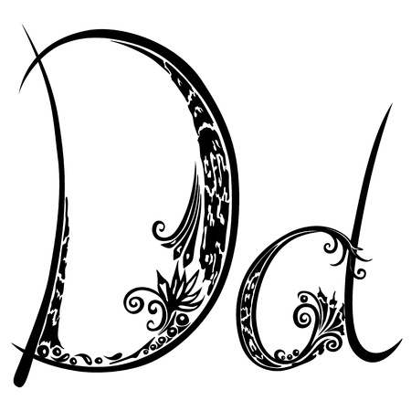 cursive: Letter D d  in the style of abstract floral pattern on a white background
