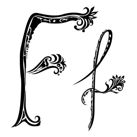 Letter F f  in the style of abstract floral pattern on a white background