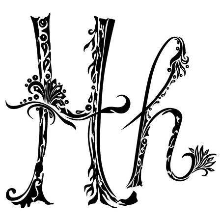 Letter H h in the style of abstract floral pattern on a white background