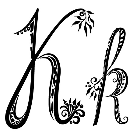 Letter K k in the style of abstract floral pattern on a white background