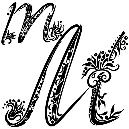 flower font: Letter M m in the style of abstract floral pattern on a white background