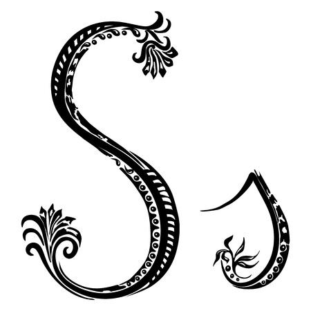 initial: Lettera S s in stile astratto motivo floreale su sfondo bianco Vettoriali