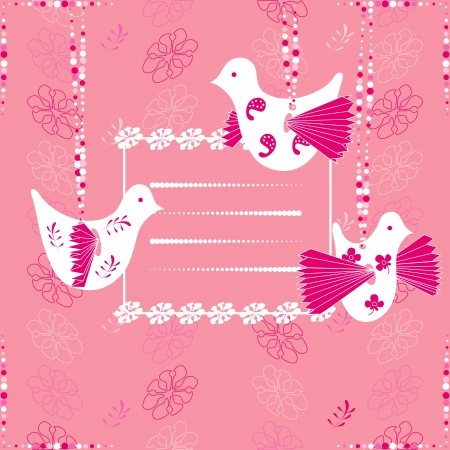 Birds. Floral pink background. Space for your text or picture. Stock Vector - 14648750