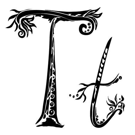 cursive: Letter T t in the style of abstract floral pattern on a white background