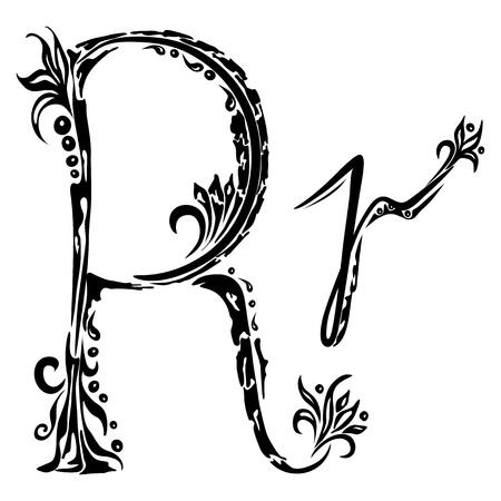 Letter R r in the style of abstract floral pattern