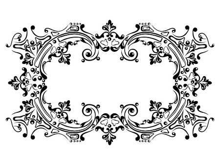 Design frame with black swirling decorative ornament