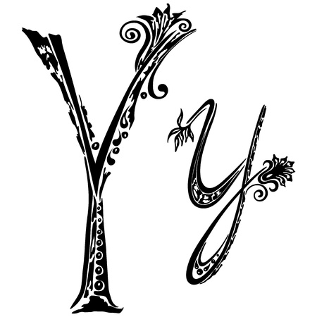 Letter Y y  in the style of abstract floral pattern on a white background Illustration