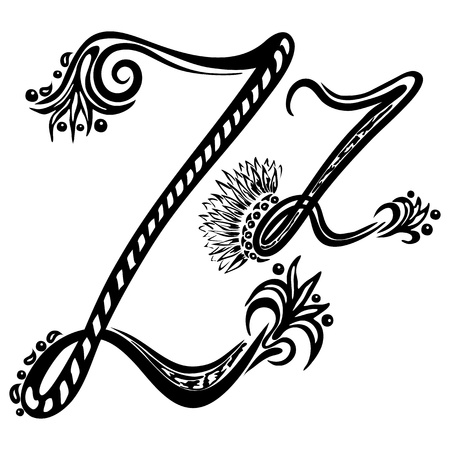cursive: Letter Z z  in the style of abstract floral pattern on a white background Illustration