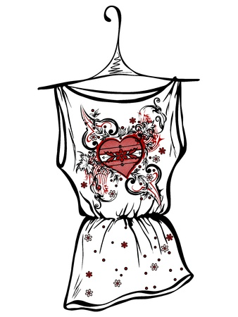 shirts on hangers: Sketch design t-shirts. Abstract drawing heart Illustration