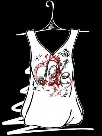 Sketch design t-shirts. Hearts with floral ornaments. The inscription love