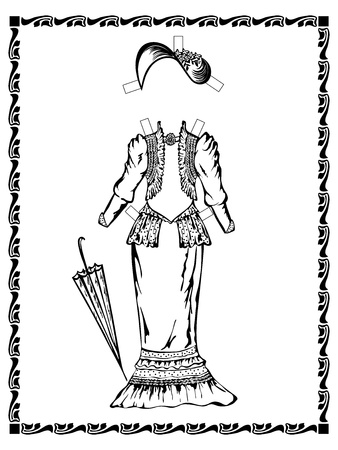 victorian fashion: Output vintage dress with a  hat. Victorian fashion