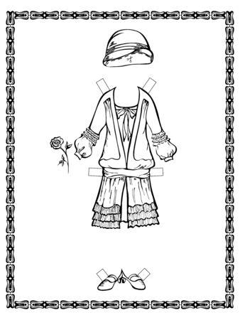 dressy: Salida vestido vintage con un sombrero. 20-30 a�os