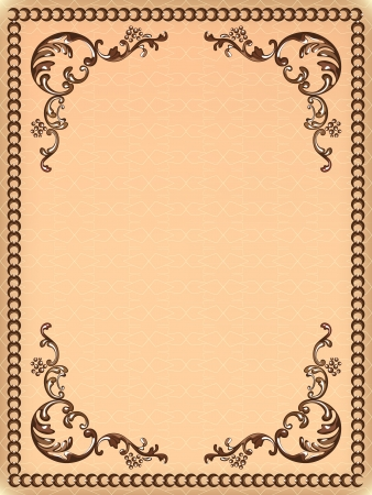 Vintage frame with swirling decorative elements