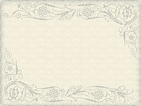Ornamental floral wedding background. Frame with swirling decorative elements Vector