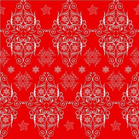 Christmas seamless pattern lace. Red, white Vector