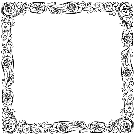 signboard: Design frame with swirling floral decorative ornament. Black and white