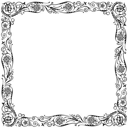 servilleta de papel: Dise�o de marco con remolinos ornamento decorativo floral. En blanco y negro Vectores