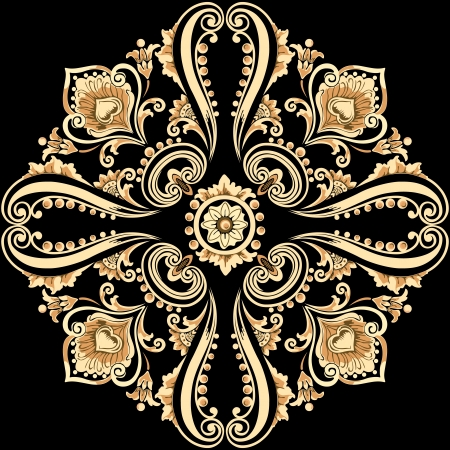 Ornamental floral motif with swirling decorative elements