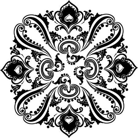 Abstract  black floral swirling ornament