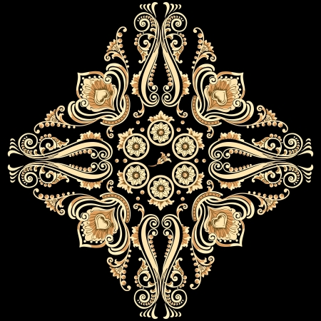 Vintage floral motif with swirling decorative elements